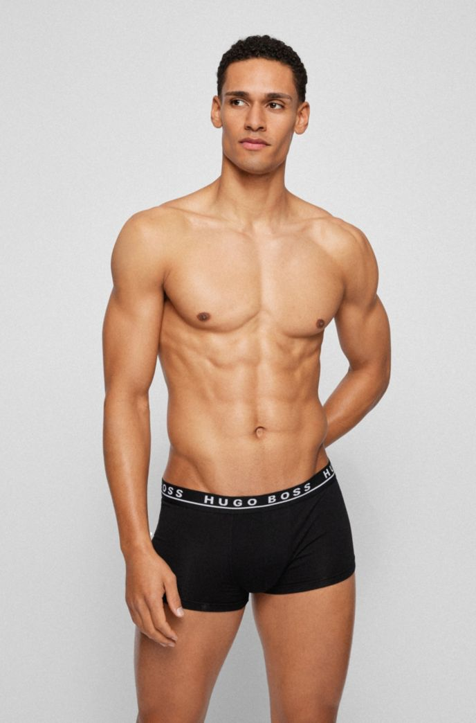 Three-pack of stretch-cotton trunks with logo waistbands