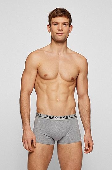 徽标裤腰弹力棉短裤三条装,  061_Open Grey