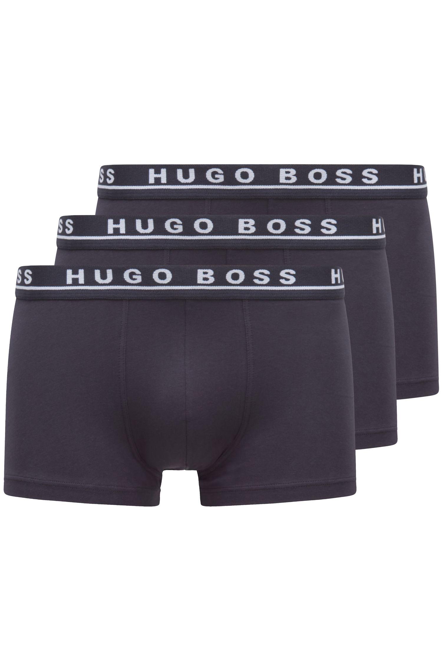 Triple pack of boxer briefs in stretch cotton , Dark Blue