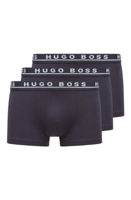Three-pack of stretch-cotton trunks with logo waistbands, Dark Blue