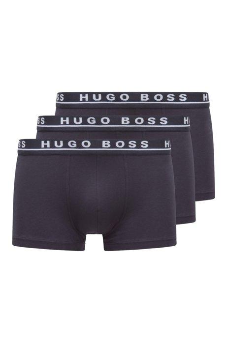 Lot de trois boxers en coton stretch ornés du logo à la taille, Bleu foncé