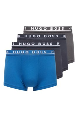 Three-pack of stretch-cotton trunks with logo waistbands, Charcoal