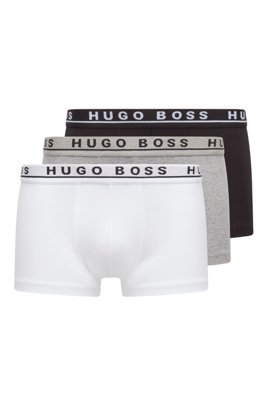 Three-pack of stretch-cotton trunks with logo waistbands, Assorted-Pre-Pack