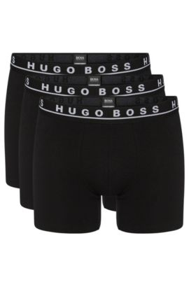 Triple pack of boxers in stretch cotton , Black