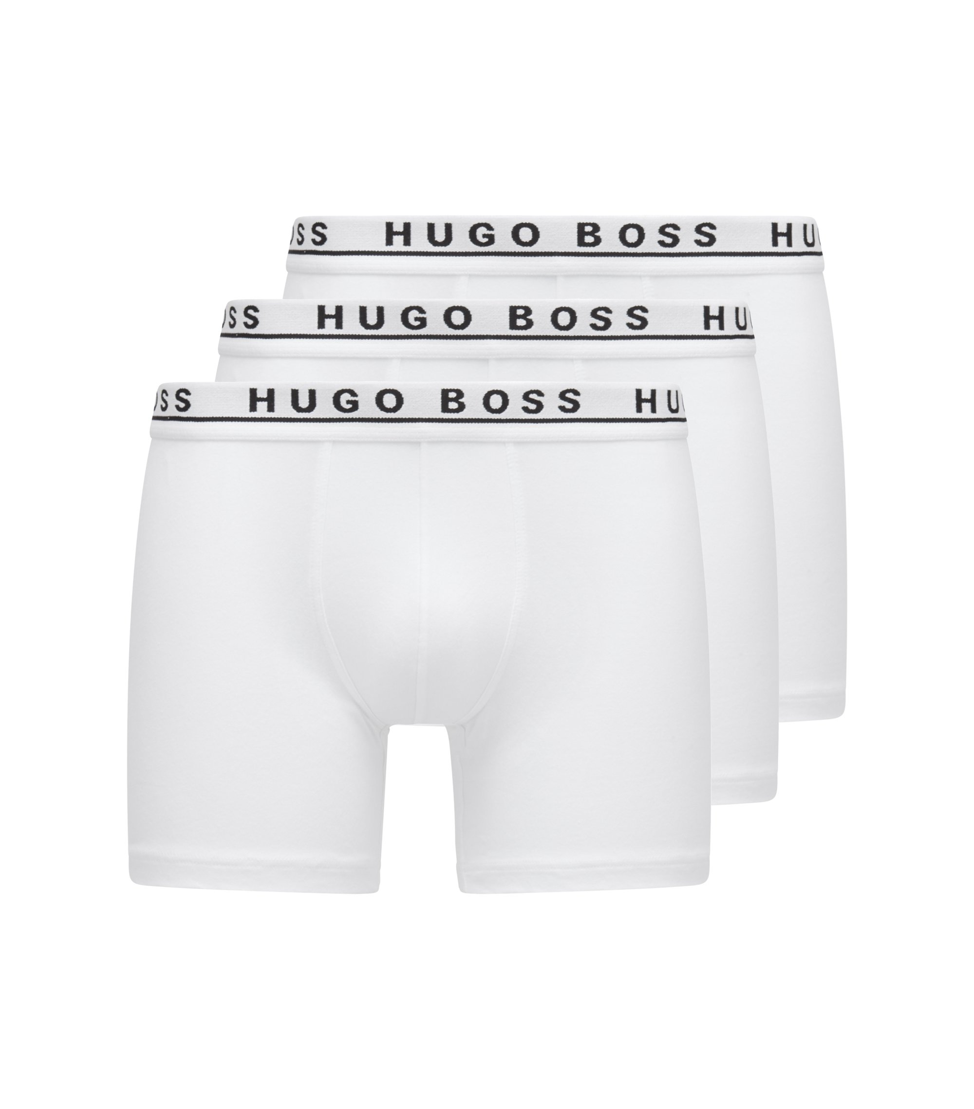 Triple pack of boxers in stretch cotton , White