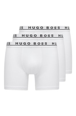 Three-pack of stretch-cotton boxer briefs, White