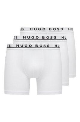 Three-pack of stretch-cotton boxer briefs, White