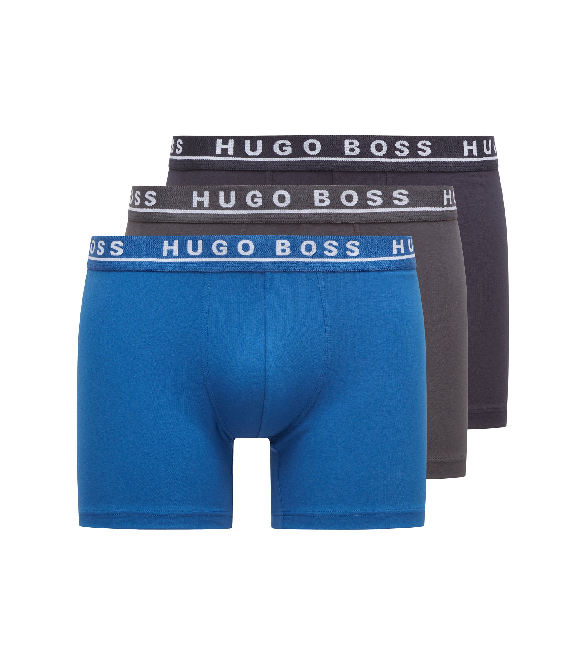 Triple pack of boxers in stretch cotton , Open Blue