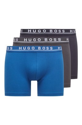 Three-pack of logo boxer briefs in stretch cotton, Light Blue