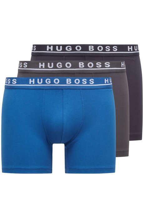 Triple pack of boxer briefs in stretch cotton , Open Blue