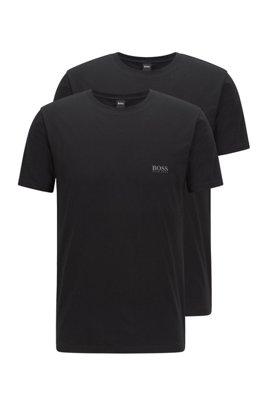 Set van twee underwear-T-shirts met logo op de borst, Zwart