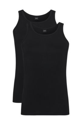 Débardeur Slim Fit en coton stretch en lot de deux, Noir