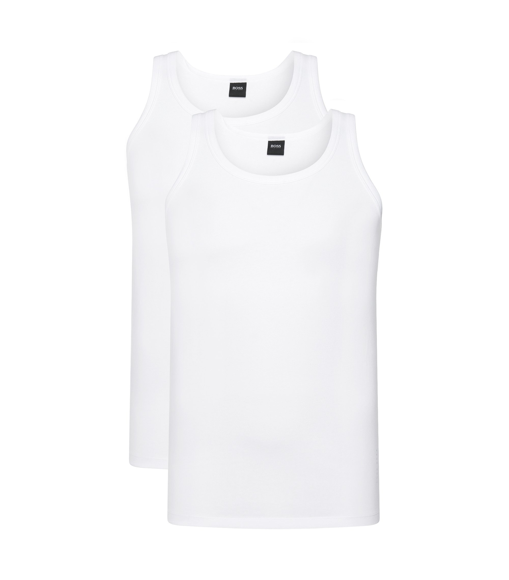 Double pack of slim-fit vests in stretch cotton , White