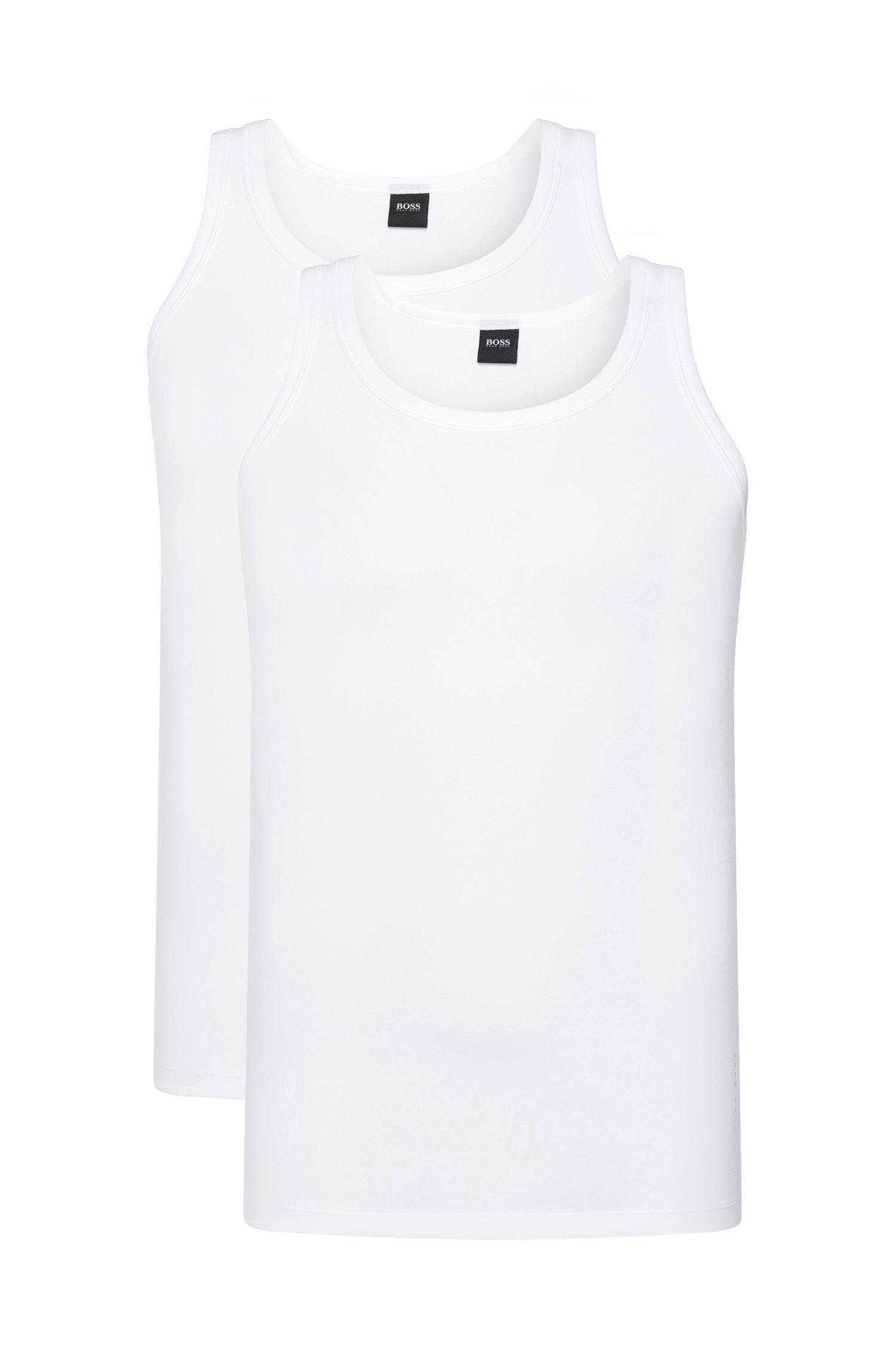 Slim-Fit Unterhemden aus elastischer Baumwolle im Zweier-Pack