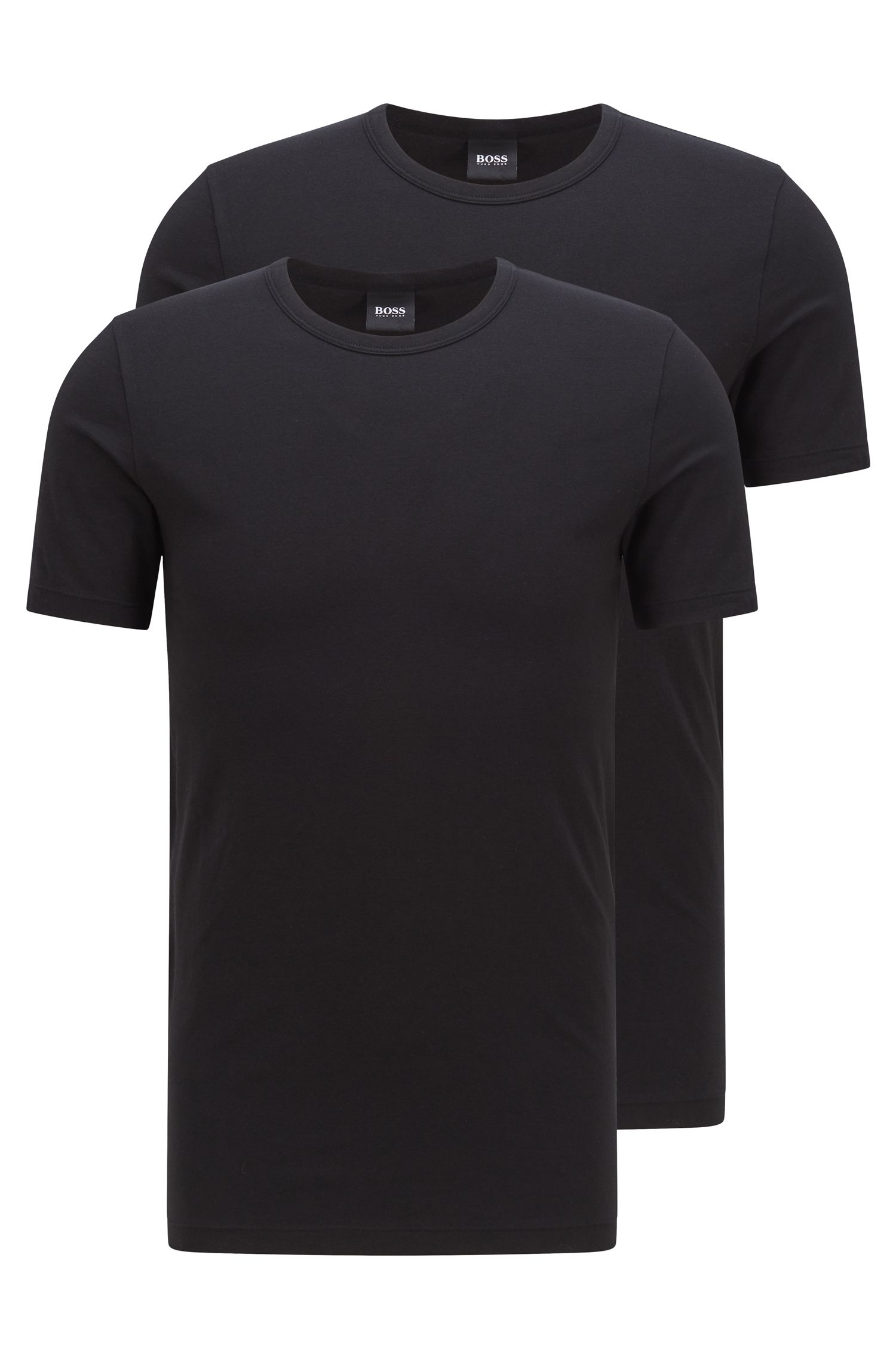 Double pack of slim-fit T-shirts in stretch cotton , Black