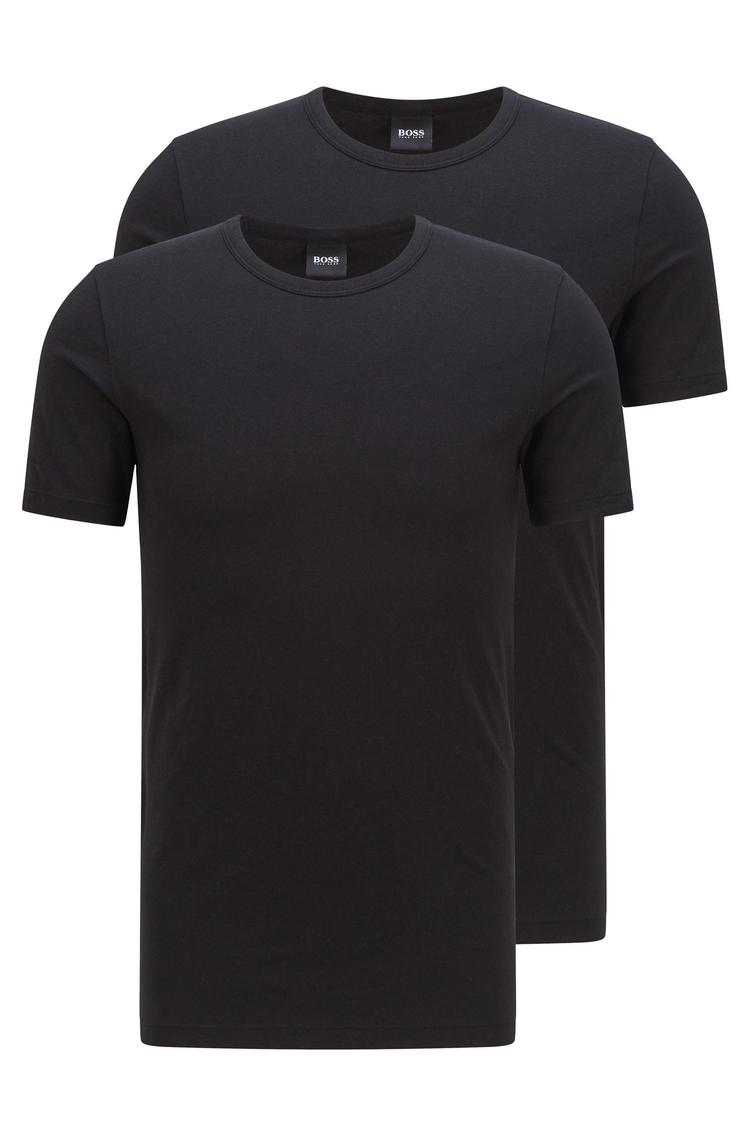 Set van twee slim-fit T-shirts van stretchkatoen , Zwart