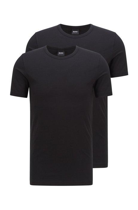 Slim-fit underwear T-shirt with vertical logo, Black