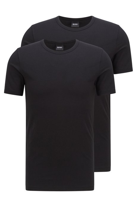 388888abe Double pack of slim-fit T-shirts in stretch cotton , Black
