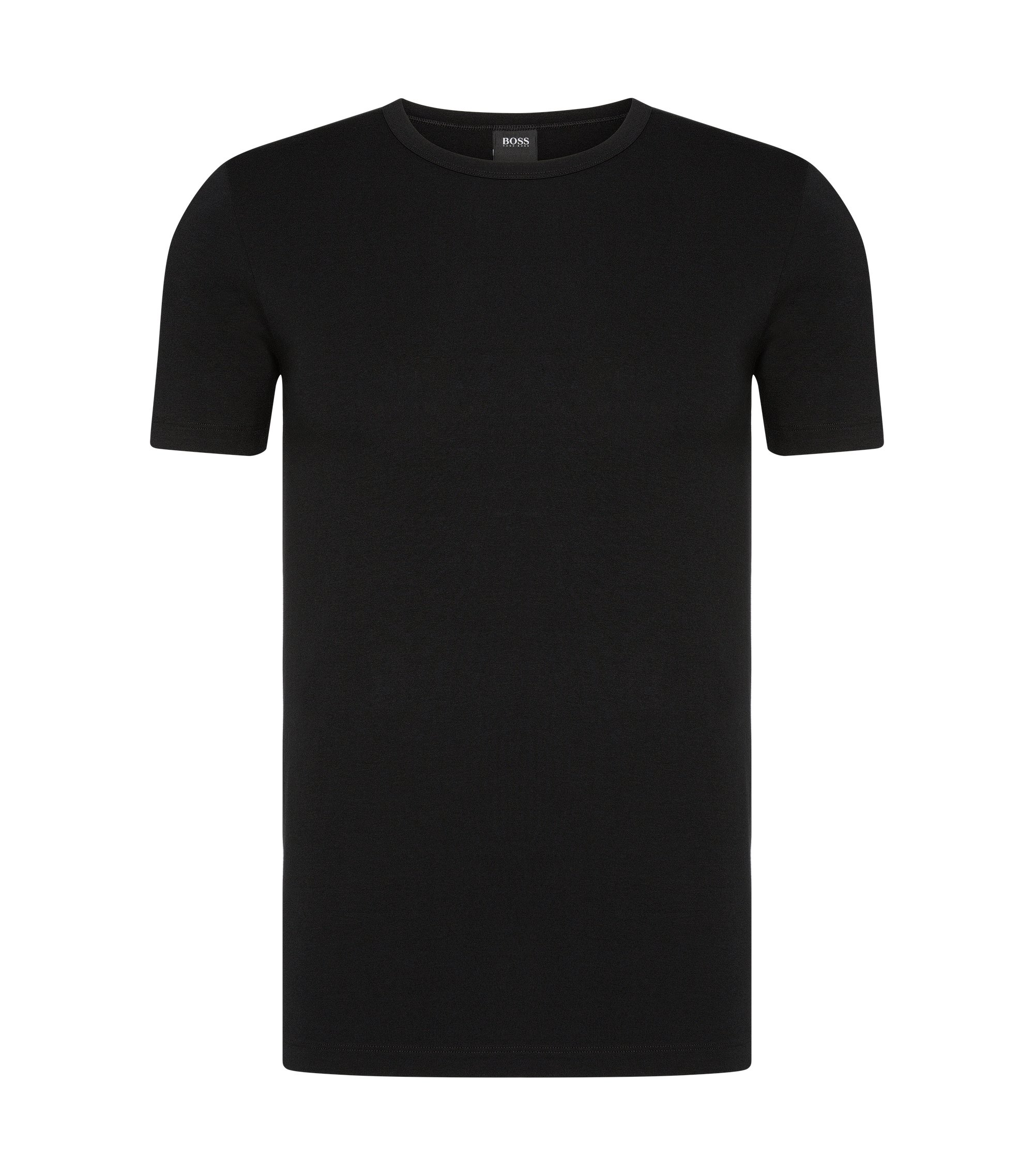 T-shirt Slim Fit en coton stretch en lot de deux, Noir