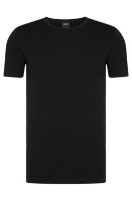 T-shirt Slim Fit en coton stretch en lot de deux, Noir