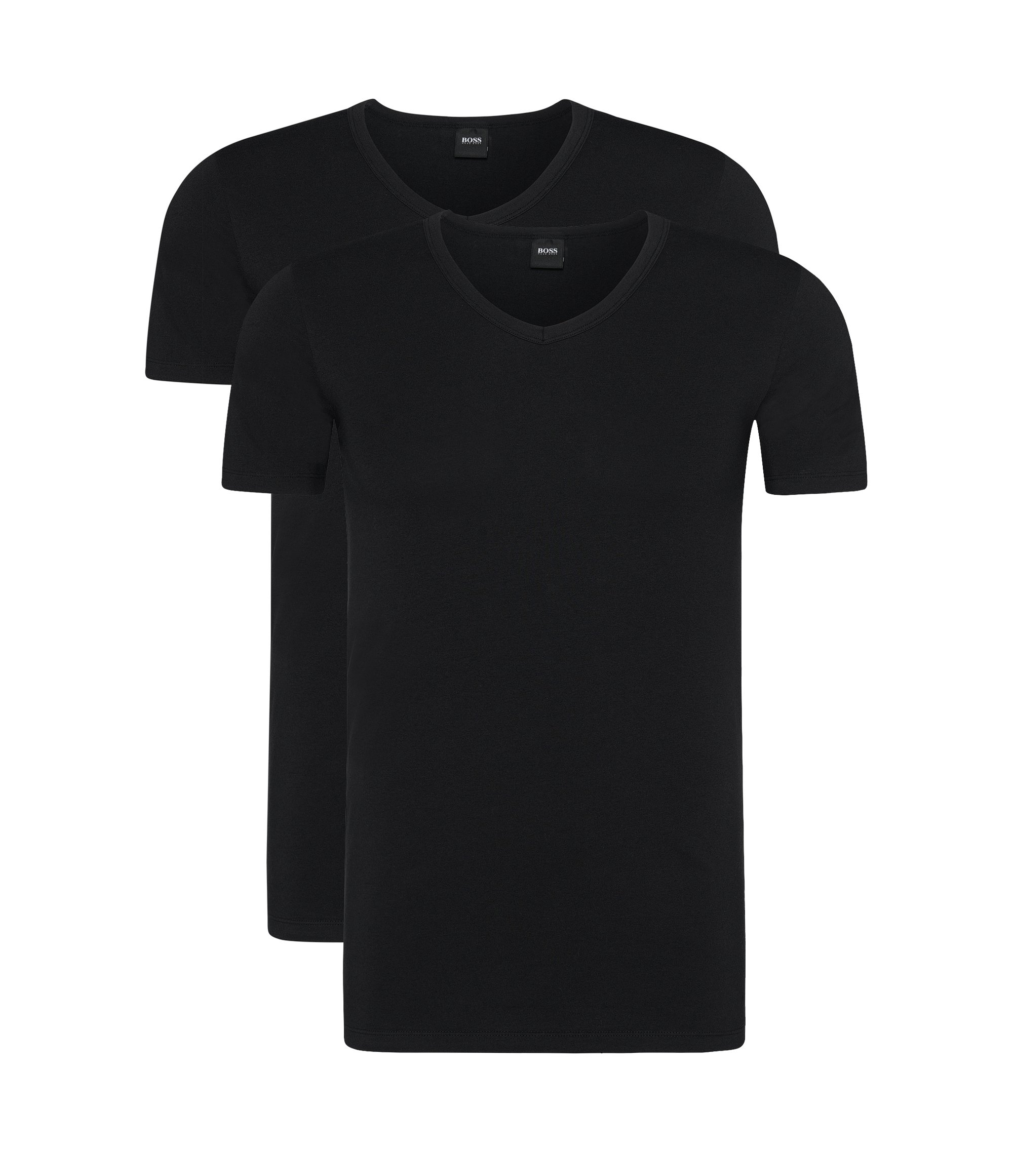 T-shirt Slim Fit à col V, en lot de deux, Noir