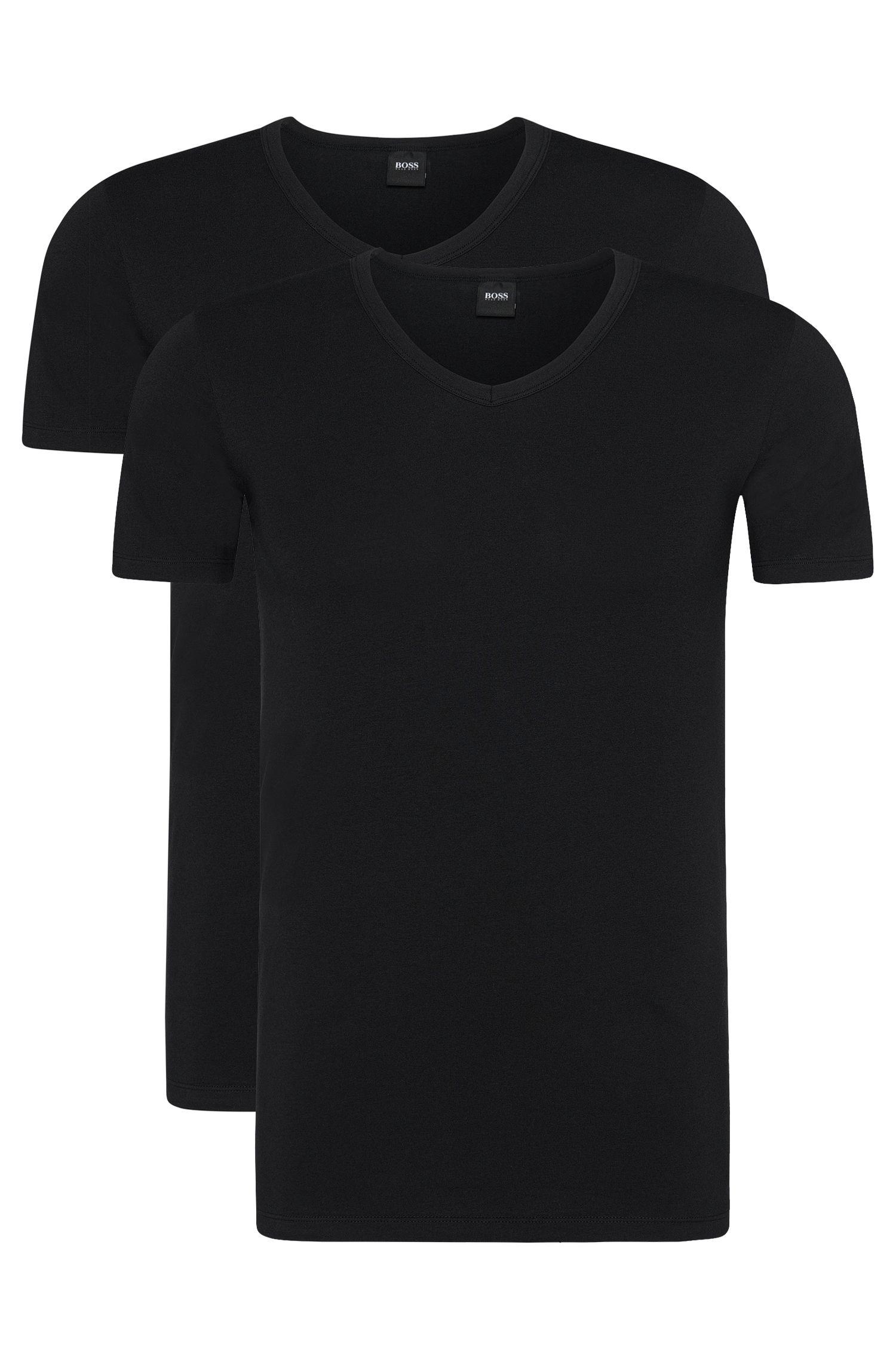 Slim-Fit T-Shirts aus Stretch-Baumwolle mit V-Ausschnitt im Zweier-Pack