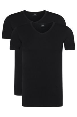 Two-pack of slim-fit T-shirts with V-neck , Black