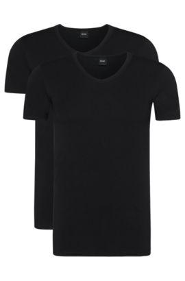 Slim-Fit T-Shirts aus Stretch-Baumwolle mit V-Ausschnitt im Zweier-Pack, Schwarz