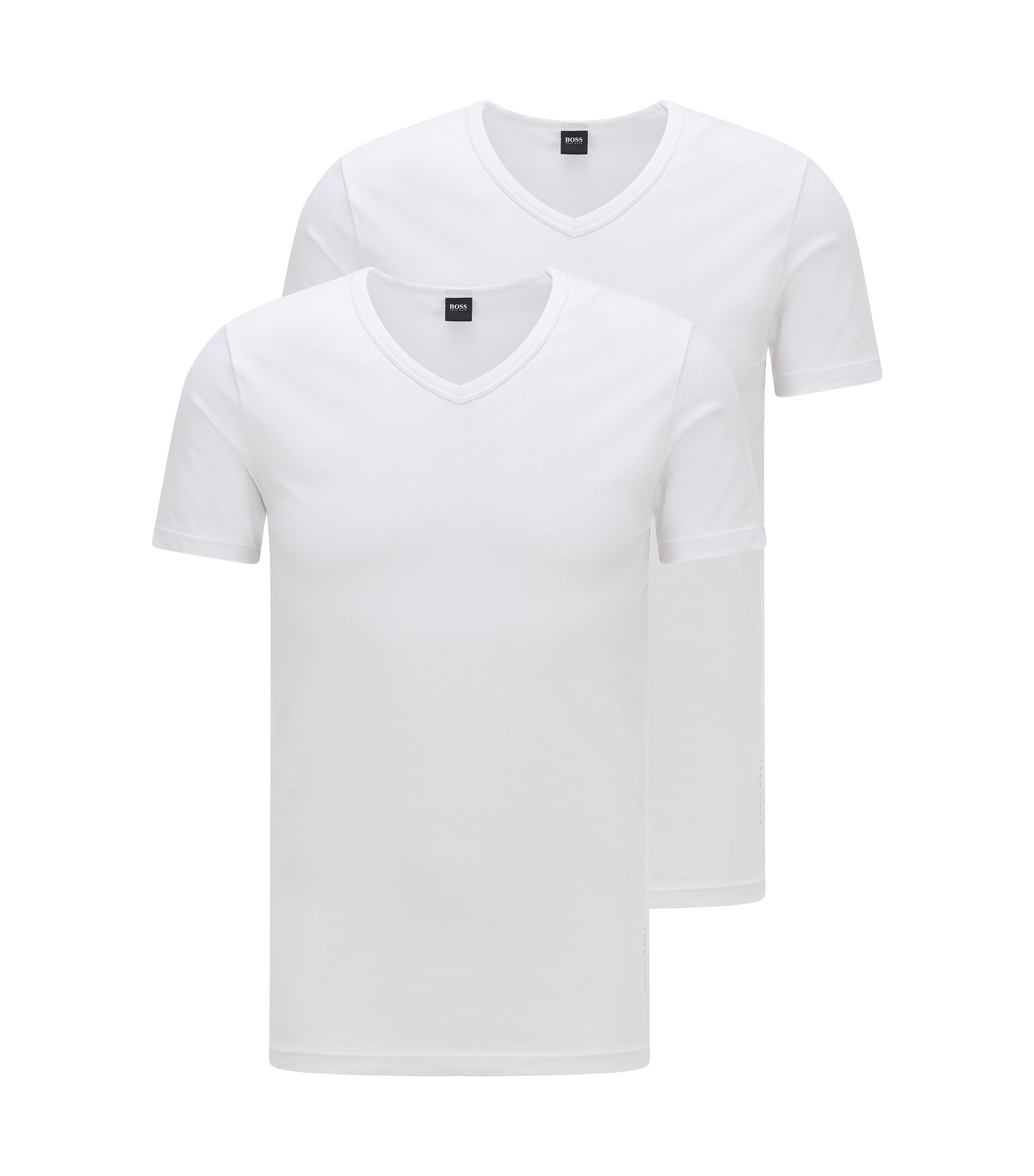 T-shirt Slim Fit à col V, en lot de deux, Blanc