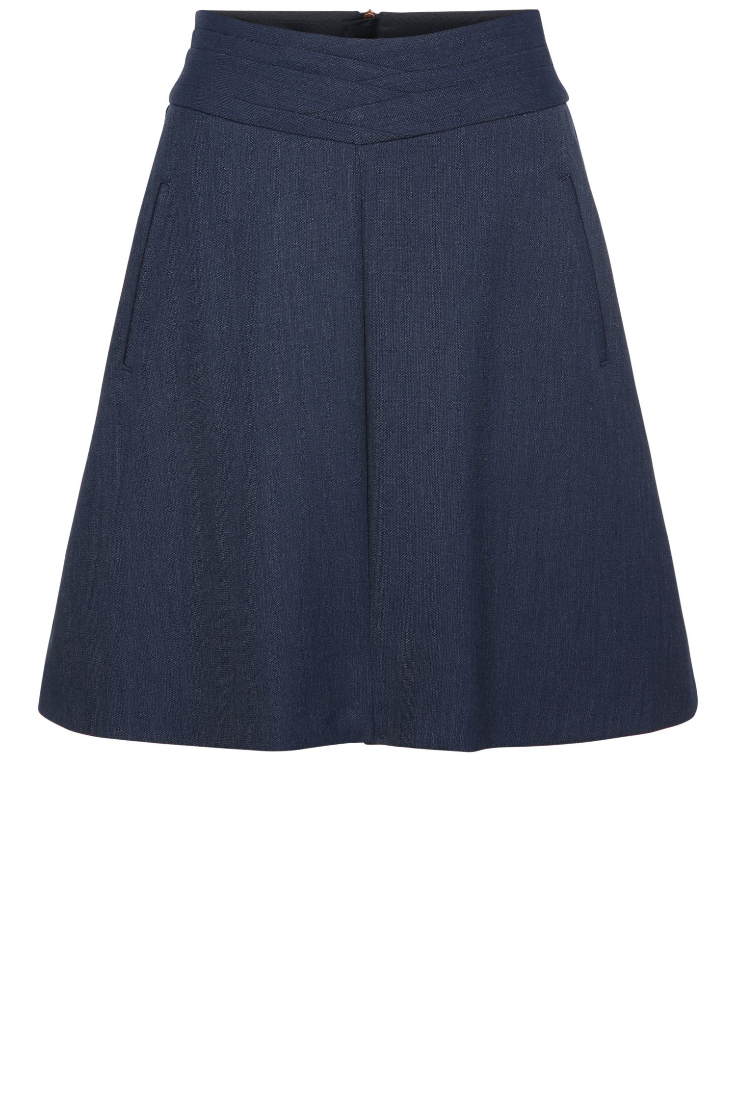 A-line skirt in stretch fabric blend with viscose: 'Breuny'