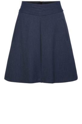 A-line skirt in stretch fabric blend with viscose: 'Breuny', Dark Blue