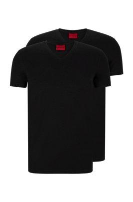 Zweier-Pack T-Shirts aus elastischem Baumwoll-Jersey mit V-Ausschnitt, Schwarz