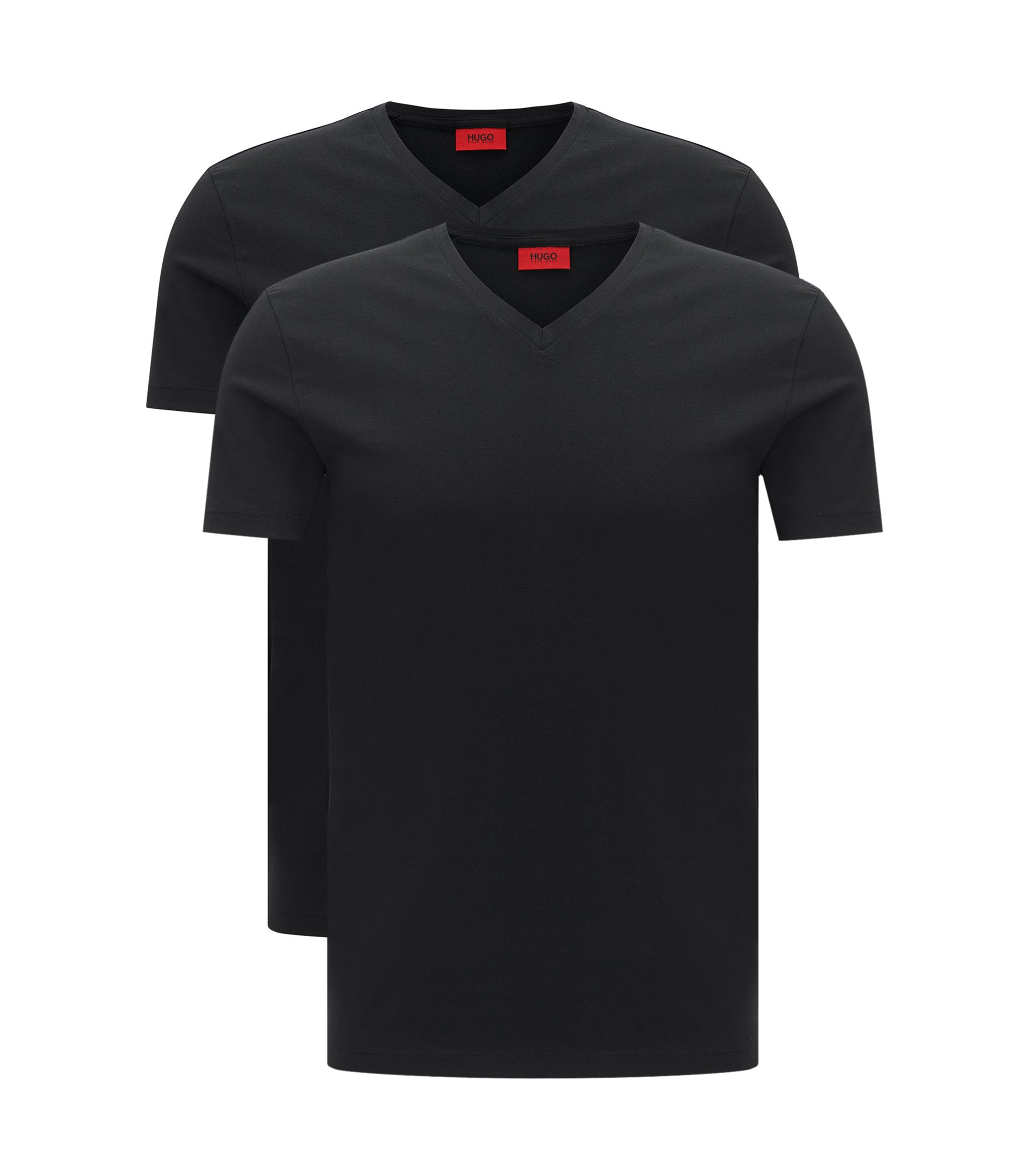 Lot de deux t-shirts à col V en coton stretch, Noir