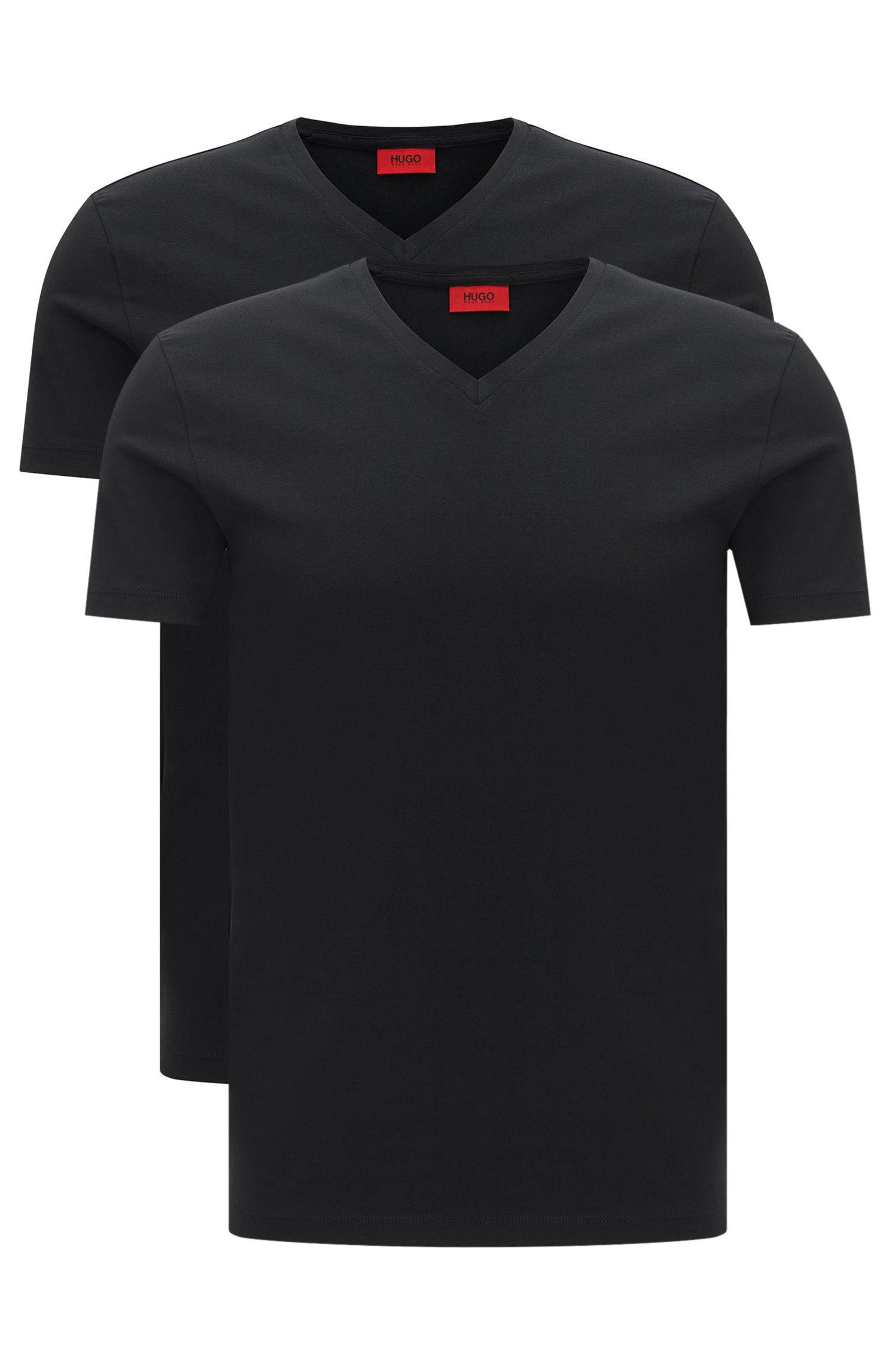 Set van twee T-shirts van stretchkatoen met V-hals , Zwart