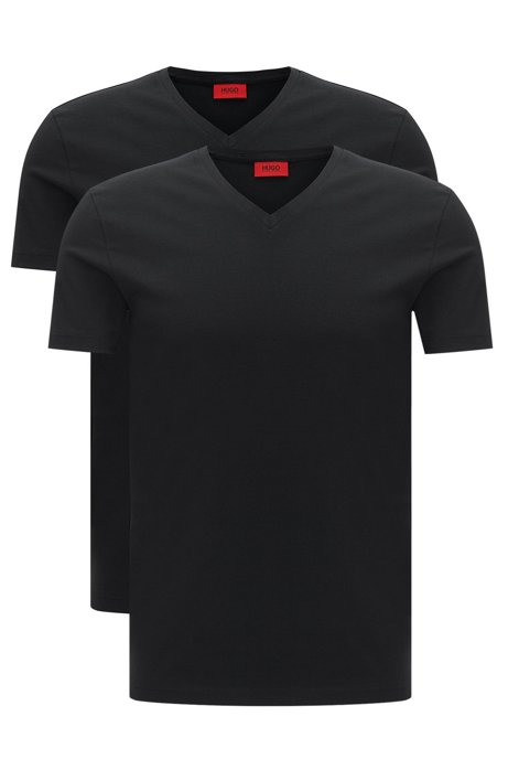 8992b503 HUGO - Two-pack of V-neck T-shirts in stretch cotton