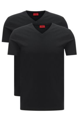 Two-pack of V-neck T-shirts in stretch cotton , Black
