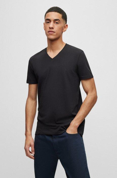 Lot de deux t-shirts à colV en jersey de coton stretch, Noir