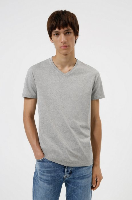 Set van twee T-shirts met V-hals in jersey van stretchkatoen, Lichtgrijs