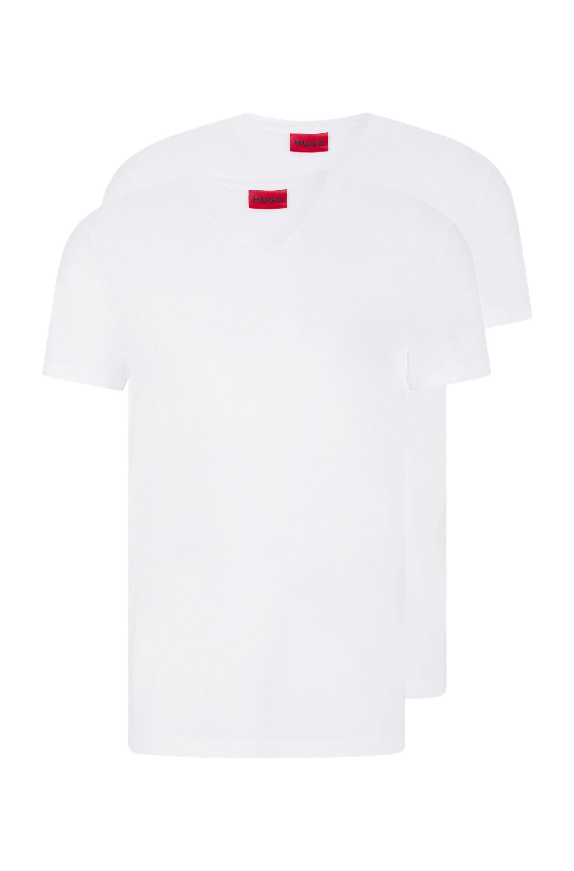 Set van twee T-shirts met V-hals in jersey van stretchkatoen, Wit