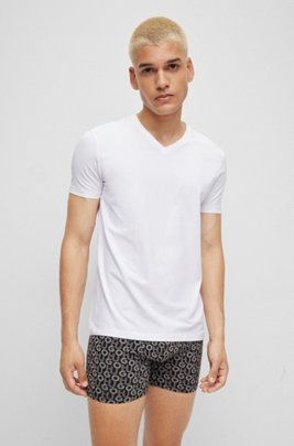Zweier-Pack T-Shirts aus elastischem Baumwoll-Jersey mit V-Ausschnitt, Weiß