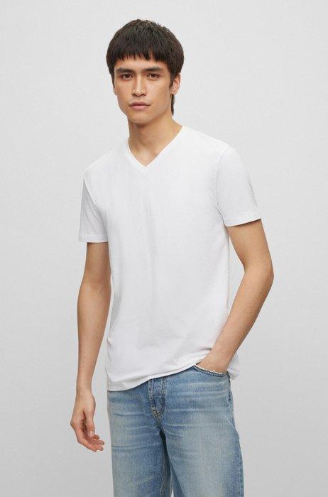 Paquete de dos camisetas en punto de algodón elástico con cuello en pico, Blanco
