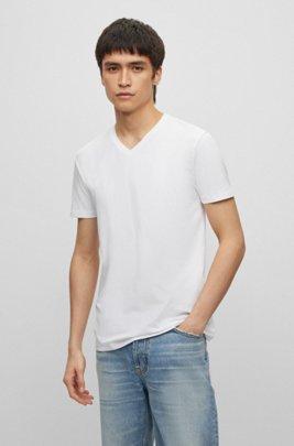 Lot de deux t-shirts à colV en jersey de coton stretch, Blanc