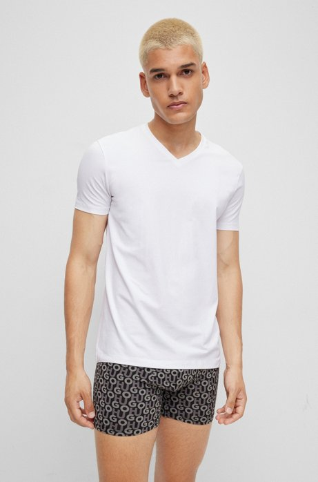 Two-pack of V-neck T-shirts in stretch cotton , White