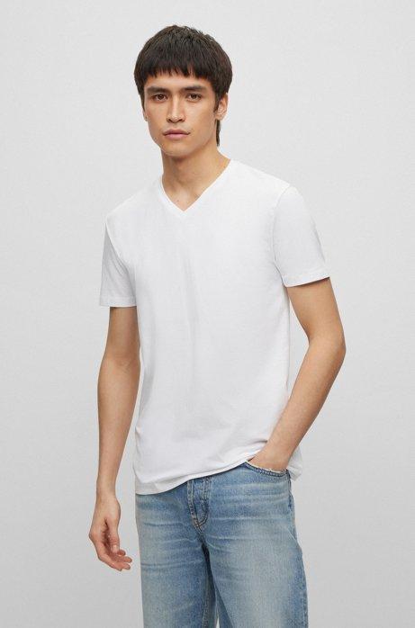 T-Shirts mit V-Ausschnitt im Doppelpack , Weiß
