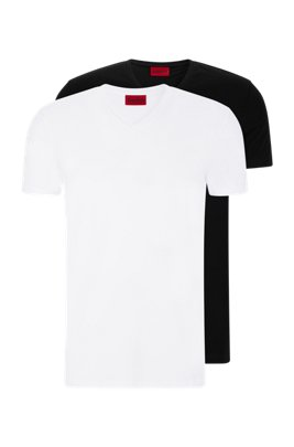 VネックTシャツ 2枚セット ストレッチコットンジャージー, ホワイト
