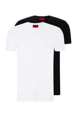 Zweier-Pack T-Shirts aus elastischem Baumwoll-Jersey mit V-Ausschnitt, Weiß / Schwarz