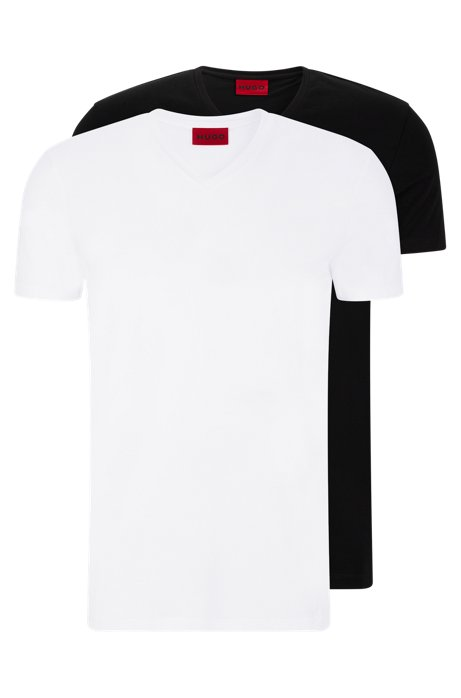 Lot de deux t-shirts à col V en coton stretch, Blanc