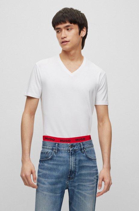 Zweier-Pack T-Shirts aus elastischem Baumwoll-Jersey mit V-Ausschnitt, Grau