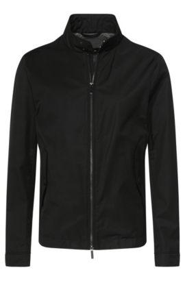 Wasserabweisende Jacke aus Baumwoll-Mix mit Stehkragen und Pattentaschen: 'Calmar', Schwarz