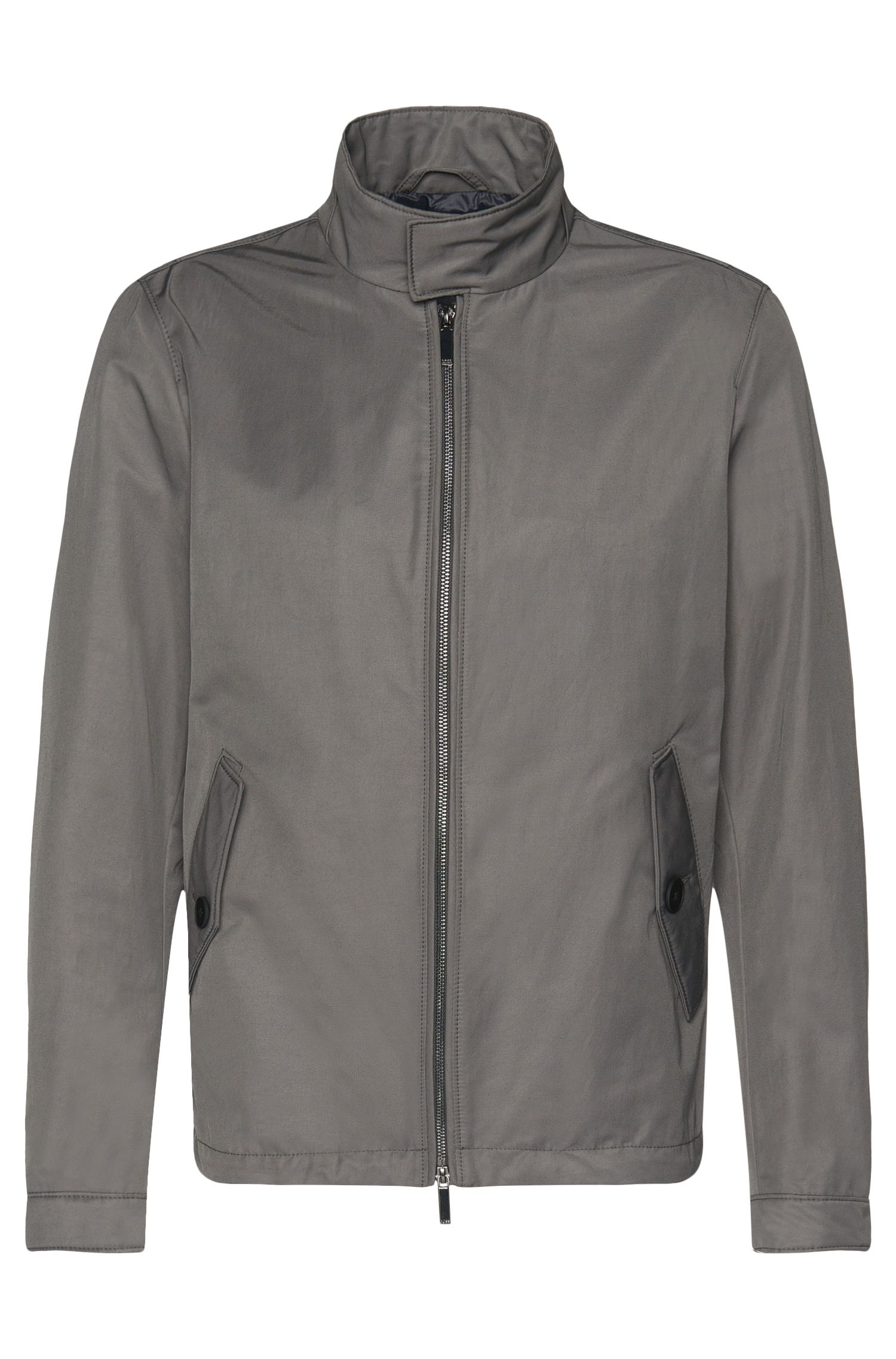Water-repellent jacket in cotton blend with band collar and flap pockets: 'Calmar'